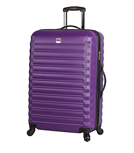 Lucas Treadlight Checked Luggage Collection - 24 Inch Scratch Resistant (ABS + PC) Hard Case Bag - Ultra Lightweight Expandable Large Suitcase With Rolling 4-Spinner Wheels (Purple)