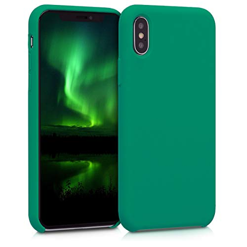 kwmobile TPU Silicone Case Compatible with Apple iPhone X - Case Slim Phone Cover with Soft Finish - Emerald Green