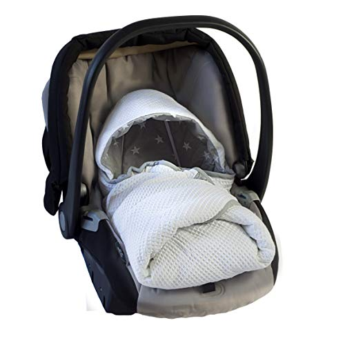 MoMika Swaddling Blanket | I'ts Perfect Road Coat I Bunting Bag I Universal Fit for Car Seat I Cybex, Maxi COSI | Stroller | Buggy or Baby Bed| 100% Cotton European Product (White-Stars)