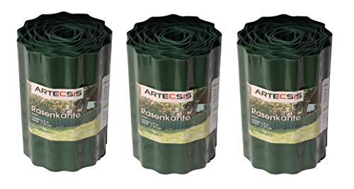 ARTECSIS 3X Bordure de Jardin en Plastique, 9 m x 20 cm, Bordure de pelouse Flexible, Bande de délimitation, Vert