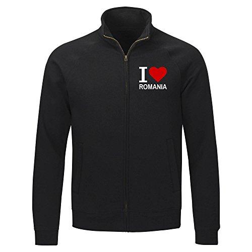 Multifanshop Sweatshirt Jacke Classic I Love Romania - schwarz - Größe S bis 2XL, Größe:XXL