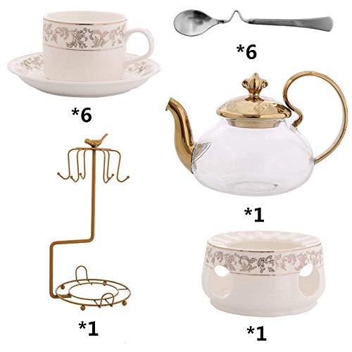 NOSSON Juegos de té con Tetera, Que Incluyen una Taza y una Cuchara de té de 6 Piezas con Soporte de Metal Cerámica Adornos Dorados para el hogar y la Fiesta de Oficina