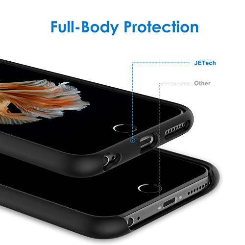 JETech Silicone Case Compatible withiPhone 6s Plus/6 Plus 5.5 Inch, Silky-Soft Touch Full-Body Protective Case, Shockproof Cover with Microfiber Lining, Black