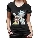 Rick Morty Logo Femmes Tee-Shirt À Manches Courtes T-Shirts Sport Summer(XL,Noir)