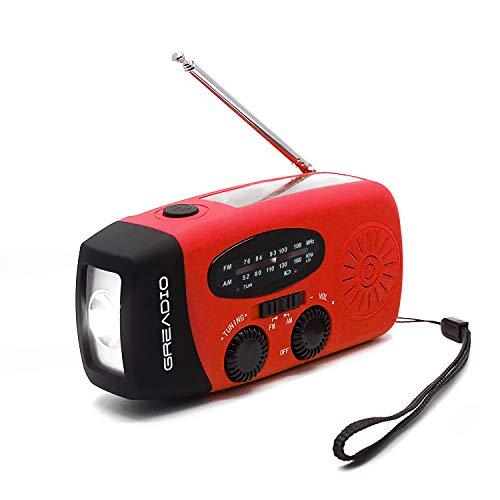 防災ラジオ 防災ソーラーラジオ 手回しラジオ AM/FM携帯ラジオ ラジオライト USB手回し発電 ソーラー 充電 ...