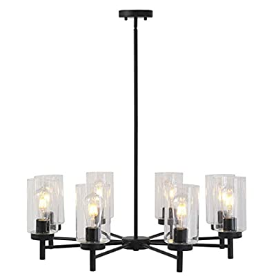 VINLUZ 8 Light Modern Contemporary Chandeliers Black Pendant Lighting Fixtures Hanging with Clear Glass Shade Rustic Ceiling Lights Living Room Dining Room Kitchen Island
