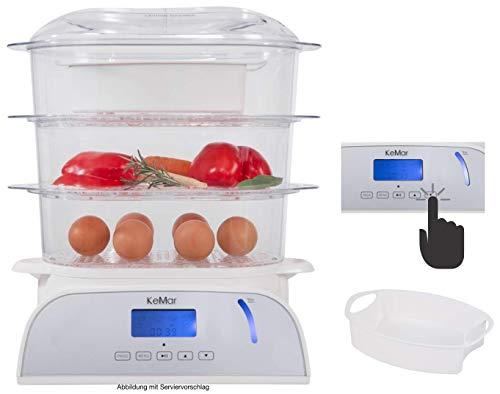 KeMar Kitchenware KFS-950 Dampfgarer, Touch Display, 6 Programme, 9 Liter, 800 W, Timer, Turboring, inkl. Reisschale