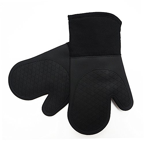 FERLLYMI Heat Resistant Silicone Shell Kitchen Oven Mitts for 500 Degrees with Waterproof, Set of 2 Oven Gloves with Cotton Lining for BBQ Cooking Set Baking Grilling Microwave Machine Washable Black