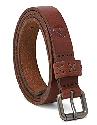 Timberland Women's Casual Leather Belt, Brown (Skinny), Small (28-32)
