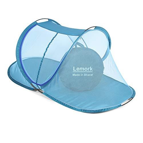 Lemork Foldable Mosquito Net for Single Bed, Macchardani with Base (Size 7.5x4x4 Feet, Multicolor)