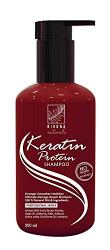 Glamorous Hub Rivona Naturals Champú de proteína de queratina para el crecimiento del cabello y control de daños sin parabenos ni sulfato (250 ml)