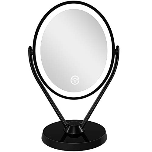 Aesfee Double-Sided 1x/7x Magnification LED Makeup Mirror with Lights, Lighted Vanity Magnified Mirror USB Chargeable, Touch Sensor Control 3 Light Settings Illuminated Countertop Mirrors - Black