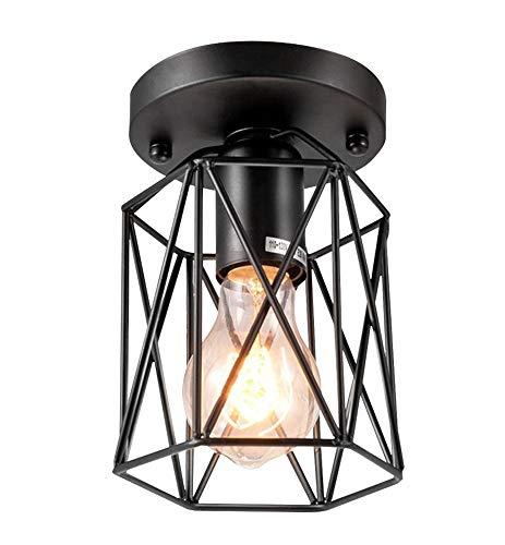 Industrie Semi-Erröten-Einfassung Leuchte Decke Schwarz Oberfläche Sockel E26, Bauernhaus Rustic Metallkäfig Leuchte Decke Für Flur Küche Veranda Treppenhaus-Beleuchtung