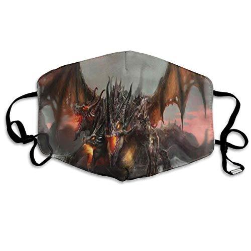 Gesichtsabdeckung Illustration des dreiköpfigen feuerspeienden Drachen Große Monster Gothic Style Thema Mundabdeckung