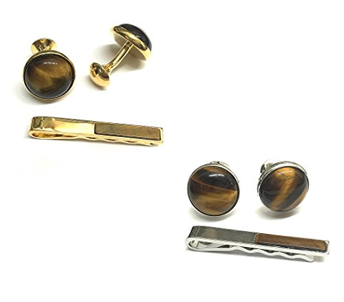 【高級品】重みあり!艶あり!天然石タイガーアイカフスボタン&ネクタイピンセット 302 (ゴールド)