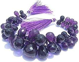 Jewel Beads 50% Off Amethyst Quartz Faceted Teardrop Briolettes Size 8x6-15x11mm 3.5 Inches Strand. Long Code-AUR-41092