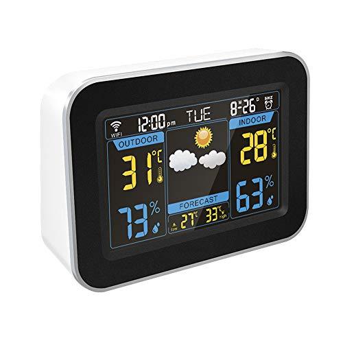Weerstation, Wireless Weather Forecast Klok, met Temperatuur Display, Gekleurde Tegenlicht, weerstations met Outdoor Sensor Wireless, voor Slaapkamers,White
