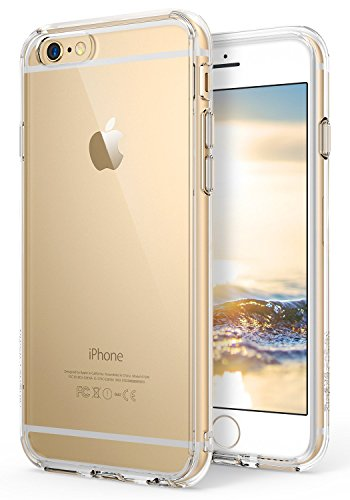 Ringke Fusion Compatible with iPhone 6S Plus Case, Crystal Clear PC Back TPU Bumper Drop Protection, Shock Absorption Technology (Attached Dust Cap) for iPhone 6 Plus - Clear
