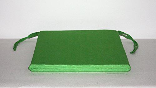 Arketicom Pacco da 4 Cuscini Artigianali per Sedie Quadrati con 2 Laccetti Antiscivolo Misto Cotone Poliestere Color Verde cm 35x35x3 (Cuscino Quadrato Sedia casa Cucina Giardino)