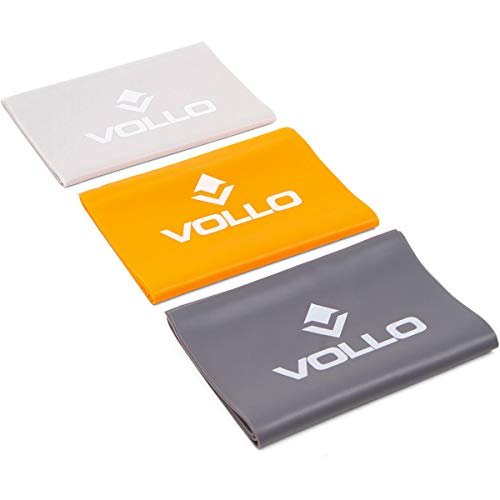 Vollo Sports Kit Com 3 Faixas Elasticas, Cinza Claro/Laranja/Cinza Escuro