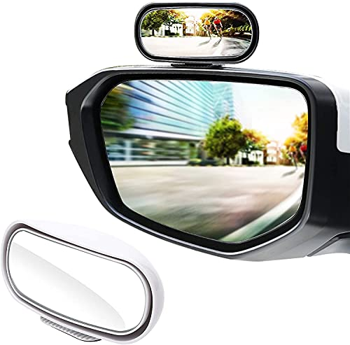 LivTee Universal Adjustable Car rearview auxiliary mirror HD Glass Wide Angle Side Rearview Mirror, White
