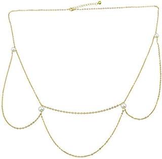 FemNmas 1PCS Women Girls Waist Chain Fashion Pearl Multi Chain Belly Beach Body Chain Body Necklace Sexy Waist Chain for S...