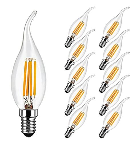 Lampadina LED Candela Fiamma E14 4W Equivalenti 40W, 400 Lumen, Bianca Calda 2700k, E14 Filamento LED per Lampadari di Cristallo e Illuminazione Decorativa, Vetro, 10 Pezzi - MAYCOLOR