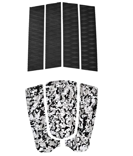 Adjustable to Fit Surfboards and Skimboards 3 Piece Stomp Pad with 3M Adhesive Max Grip with Kicker and Arch Bar Shaka Pro EVA Surfboard Traction Pad