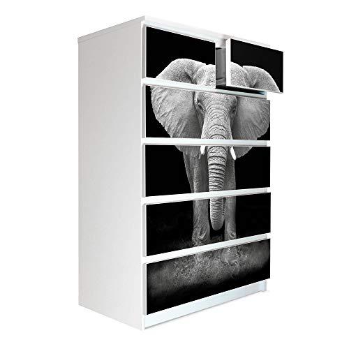 banjado Möbelaufkleber passend für IKEA Malm Kommode 6 Schubladen | Selbstklebende Möbelfolie | Sticker Tattoo perfekt für Wohnzimmer und Kinderzimmer | Klebefolie Motiv Ella