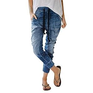 Women's Drawstring Jeans Casual Pockets Denim Baggy Harem Distress Pants
