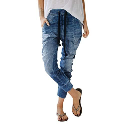 HENWERD Womens Drawstring Jeans Casual Pockets Denim Baggy Harem Distress Pants (Blue,XL)
