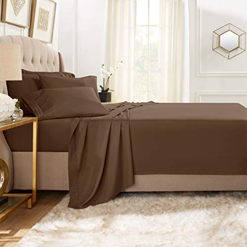 Clara Clark Premier 1800 Collection Bed Sheet Set with Extra Pillowcases Wrinkle, Fade & Stain Resistant, Flex-Top King, Chocolate Brown