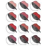 Juego de 12 barras de labios mate Easy Lazy, juego de maquillaje de lápiz labial multicolor, lápiz labial mate sexy redondo, resistente al agua y duradero, fácil de colorear, juego de maquillaje con b