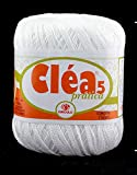 Clea 5 100% Cotton Threads in 16 Colors. in reg. 6, 820 Yards. Suitable for 1.5 mm Needle. Great use for Knitting. (White)