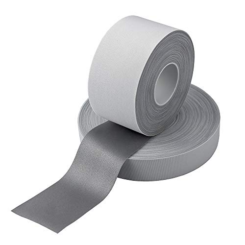Safety Silver Elastic Stretch Reflective Fabric Tape DIY for Clohting Sew On (50mm x 10meter)
