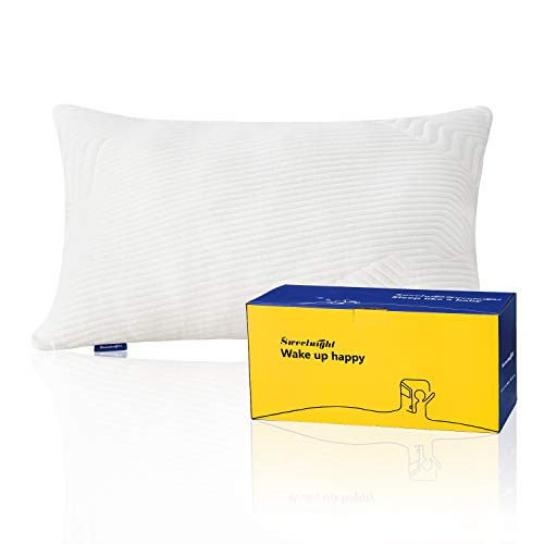 Sweetnight Bed Pillows for Sleeping, Bamboo pillow with Adjustable Loft, Neck Pain Relief Cooling Pillows for Side/Back/Stomach Sleepers, Gel Memory Foam Pillow with Washable Removable Cover, Standard