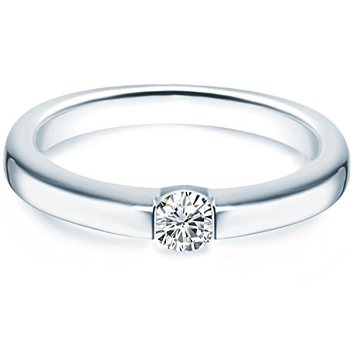 Tresor 1934 Damen-Ring/Verlobungsring/Spannring Sterling Silber rhodiniert Zirkonia weiß 60451022