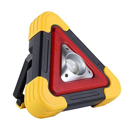 TCTC Luz de Advertencia de Peligro de Coche, lámpara Emergencia Carretera Trabajo Intermitente Triangular,lámpara Camping con Reflector COB de Mano Multifuncional (Amarillo)