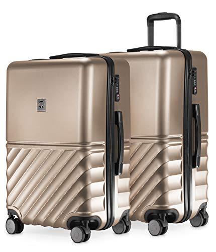 HAUPTSTADTKOFFER - Boxi - 2er Kofferset Trolley-Set Rollkoffer Reisekoffer mittelgroßer Koffer (65 cm), ABS-Hartschale TSA, 4 Spinner-Doppelrollen, Gold