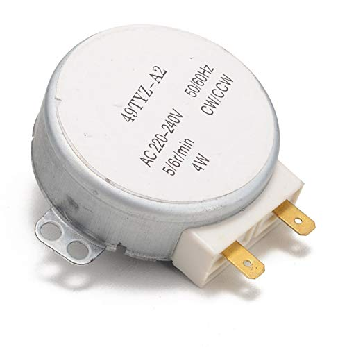 QINGRUI Ersatzteile Mikrowellenofen Synchronous Motor 49TYZ-A2 AC 220-240V CW/CCW 4W 4 RPM Synchronmotor mit 2 Pins Terminals stark und robust