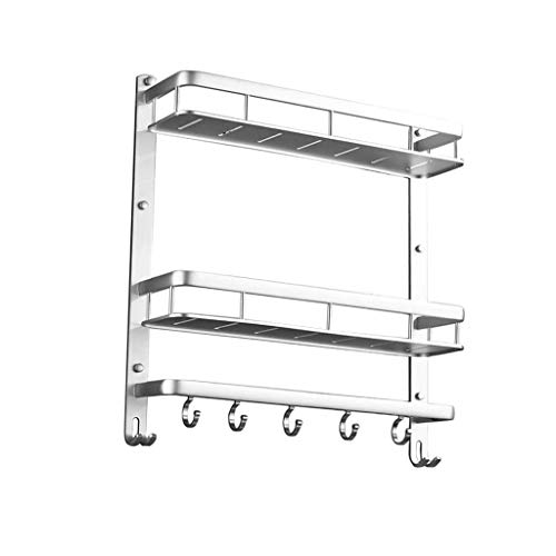 DQYC 浴室の棚、アルミ2層シャワーラックストレージラックタオルスペースアルミフリーパンチラック (Color : Silver)