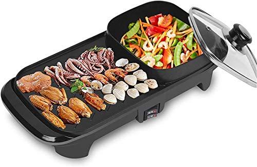 Parrilla eléctrica portátil, Multifuncional Teppanyaki Grill / Shabu Pot, Parrilla interior Pote caliente, Capacidad para 1-3 personas Reuniones familiares , La plancha eléctrica antiadherente del hog