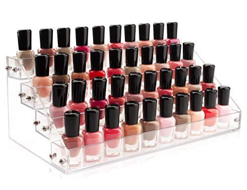 Organizador de esmaltes de uñas y almacenamiento de 4 capas de acrílico transparente para hasta 48 botellas de aceite esencial