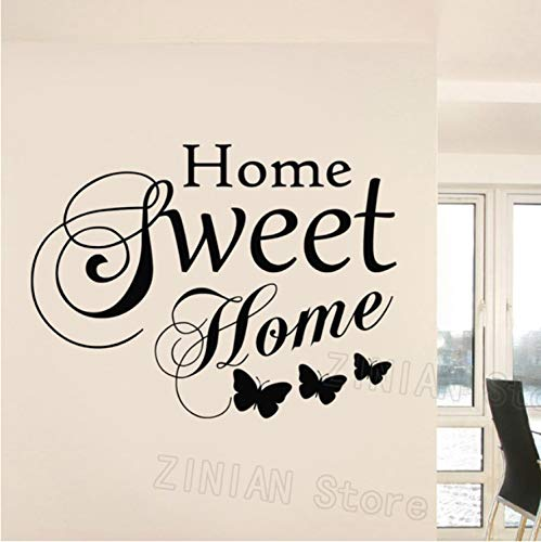 Family Love Vinyl Wall Art Stickers Quotes Home Sweet Home Words Adesivi murali Soggiorno Farfalla Decorazione Camera da letto Murale 74x56cm