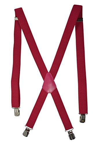 Unisexe Bretelles 'X' entièrement réglable Modèle 'Skinny' avec 4 Clips - 2.5cm. Rose Fuschia