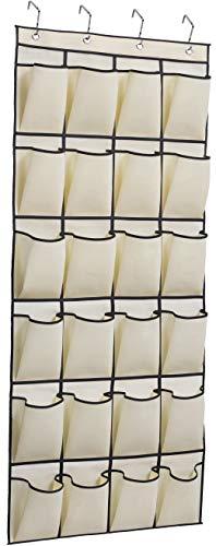 MISSLO Over the Door Shoe Organizer 24 Large Fabric Pocket Closet Accessory Storage Hanging Shoe Hanger Beige