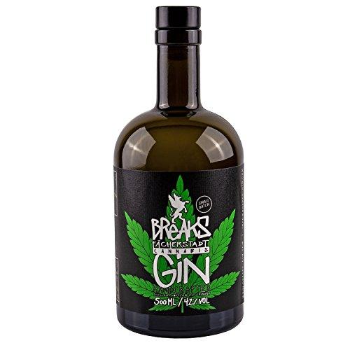 Breaks Cannabis Gin - Einzigartiger Gin mit Hanfblüten, Hanfblätter - Kräuter Note - Handmade - 1 x 0,5 L
