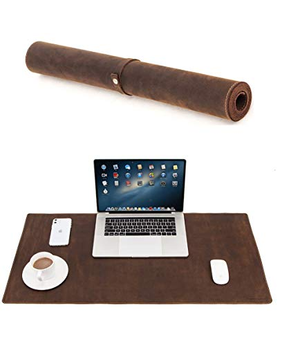 Genuine Leather Large Desk Pad Protector, 36'' x 17'' Office Desk Mat, Mouse Pad, Non-Slip Leather Desk Blotter, Laptop Desk Pad, Waterproof Desk Writing Pad for Office and Home -Brown