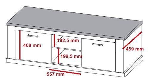 trendteam TR31861 TV Möbel Landhausstil weiss Pinie, Absetzungen Nussbaum satin BxHxT 160x60x52 cm - 2