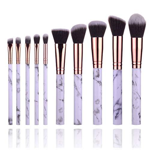 Cosmétique Pinceaux Kit 10 Soutien, Motif De Marbre Pinceaux Maquillage Blush Fard à Paupières Concealer Cosmétique Pinceau-blanc